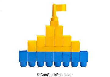 château, fait, blocs, lego