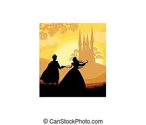 château, magie, prince, princesse