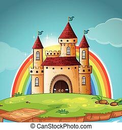 château, moyen-âge, scène
