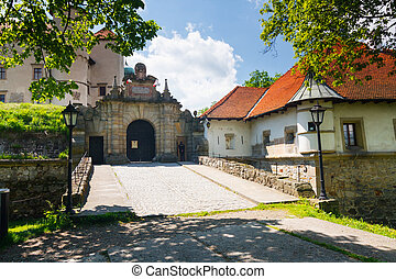 château, nowy, vue, pologne, wisnicz