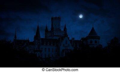 château, nuit, gothique, lune
