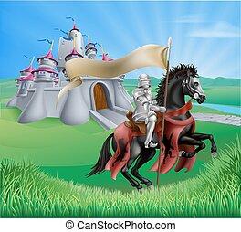château, paysage, chevalier