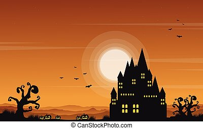 château, paysage, halloween, style, collection