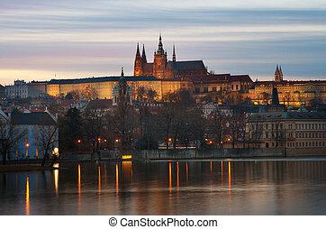 château prague, vue, depuis, les, rivière vltava