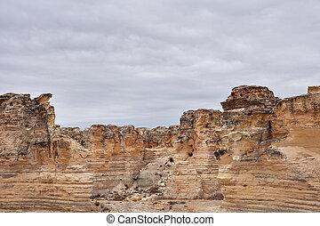 château, rocher, badlands, dans, kansas
