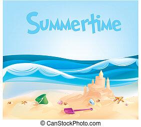 château sable, océan, plage