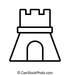 château, sable, style, ligne, icône