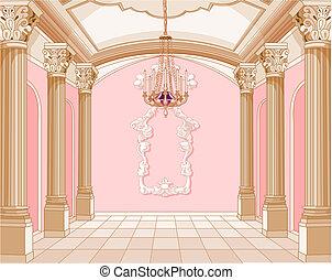 château, salle bal, magie