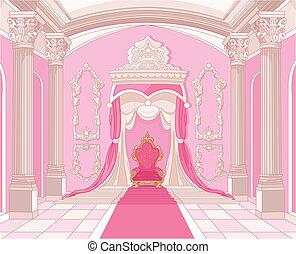 château, salle, magie, trône