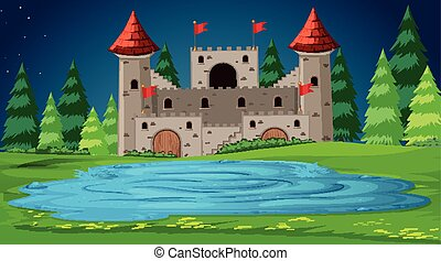 château, scène, nuit