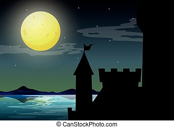 château, silhouette