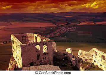château, spissky, coucher soleil