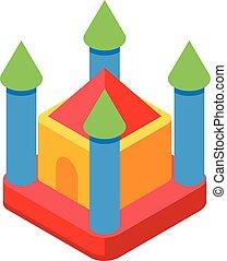 château, style, icône, isométrique, trampoline
