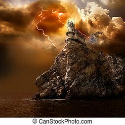 château, sur, éclair