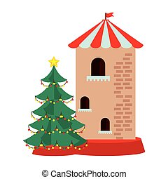 château, tour, arbre pin, noël