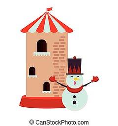 château, tour, bonhomme de neige, caractère, noël