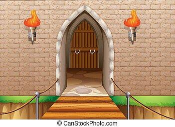 château, tour, mur, à, pont