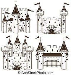 château, vecteur, collection