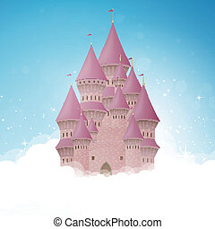 château, vecteur, dessin animé