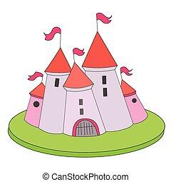 château, vecteur, dessin animé, illustration