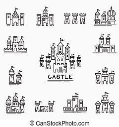 château, vecteur, icône