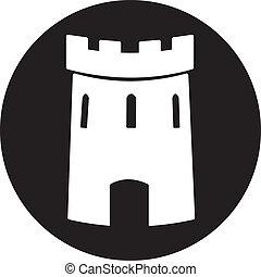 château, vecteur, moyen-âge, tour, icône