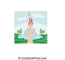 château, vieux, paysage, rocher