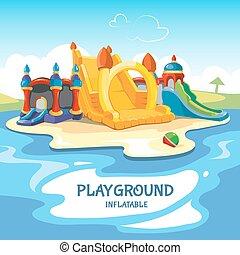 châteaux, collines, gonflable, illustration, vecteur, cour de récréation, enfants