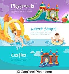 châteaux, gonflable, collines, childrens, cour de récréation