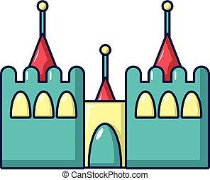 châteaux, icône, rebondissant, style, dessin animé