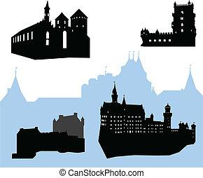 châteaux, silhouettes, cinq