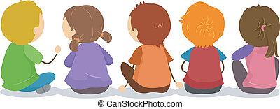 chão, backview, crianças, sentando