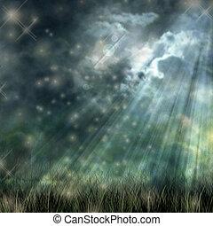 chão, céu, fluir, escuro, luar, místico