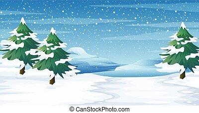 chão, cena, árvores, neve