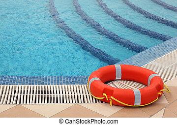 chão, cordas, amarela, lifebuoy, ladrilhado, natação, escadas, piscina, vermelho
