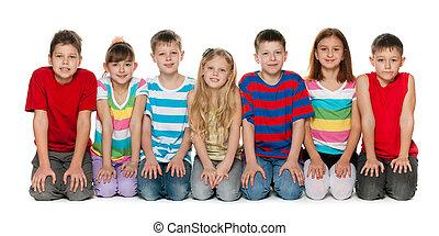 chão, crianças, sentando