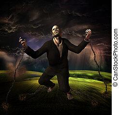 chão, homem, tempestade, fundo, acorrentado