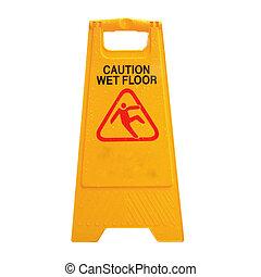 chão, isolado, sinal, cautela, aconselhar, molhados, branca
