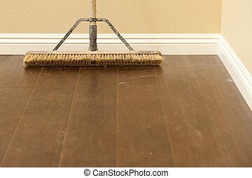 chão, laminate, vassoura, installed, baseboard, empurrão, recentemente