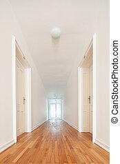 chão, longo, passagem, parquet, interior, branca