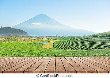 chão madeira, com, bonito, paisagem, de, plantação chá,...
