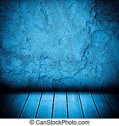 chão madeira, e, parede concreta, textured, fundo
