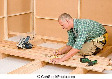 chão, madeira, handyman, melhoria, renovação lar
