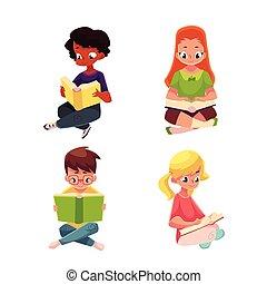 chão, meninas, sentando, meninos, interessante, leitura, crianças, livro