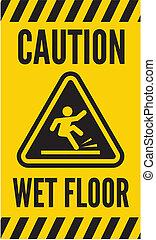 chão molhado, cautela