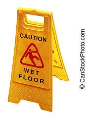 chão molhado, placa sinal, para, cautela, pessoas,...