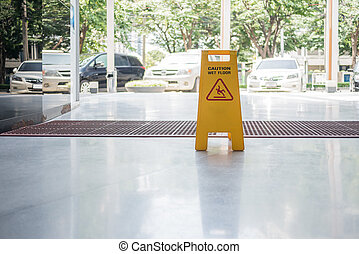 chão molhado, sinal, chão