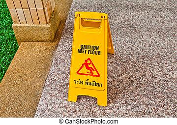 chão molhado, sinal cuidado, ligado, chão