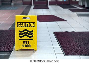 chão molhado, sinal, tapetes