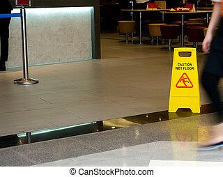 chão, mostrando, restaurante, sinal amarelo, aviso, cone,...